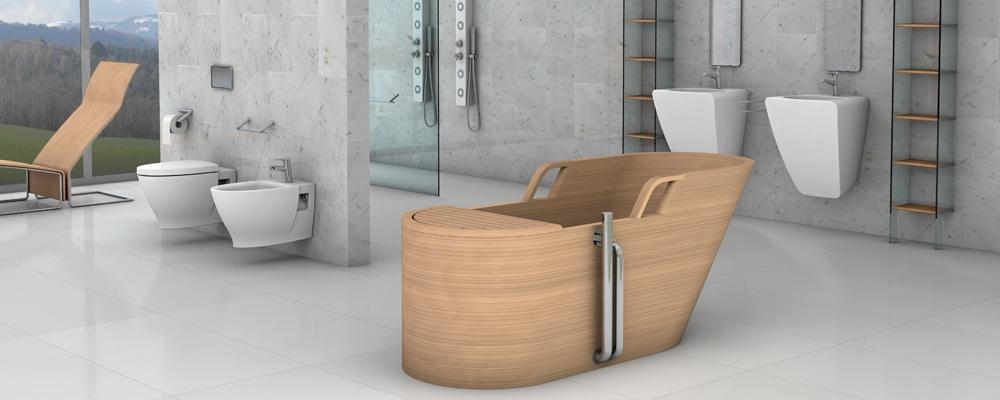 italienische luxus b der mit badewannen aus edlem holz. Black Bedroom Furniture Sets. Home Design Ideas