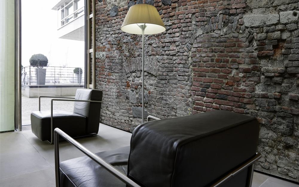 Eine texturtapete mit zigelmuster lifestyle und design for Ziegel tapete