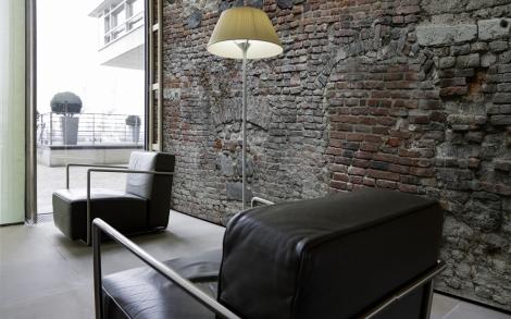Eine texturtapete mit zigelmuster lifestyle und design - Ziegel deko wand ...