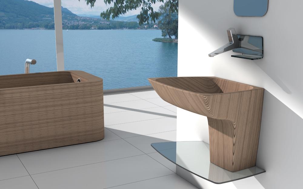italienische design b der mit badewanne aus edlem holz. Black Bedroom Furniture Sets. Home Design Ideas