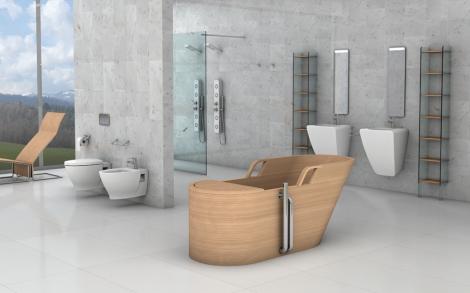 Italienische design b der mit badewanne aus edlem holz for Italienisches baddesign