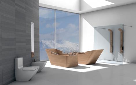 Italienische design b der mit badewanne aus edlem holz for Bad italienisches design