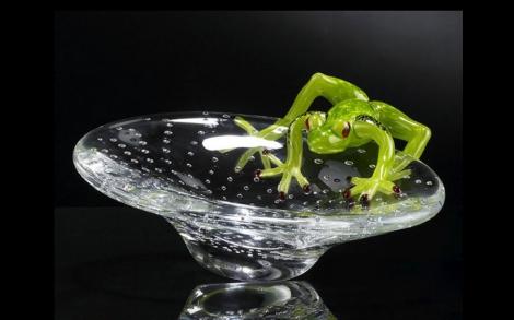 Dekoration Einrichtung Glaskunst Von VG Italien Frosch VASSOIO CON RANA  VETRO