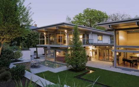 Design Haus Flat Roof In Glas Und Holz Architektur Von Huf