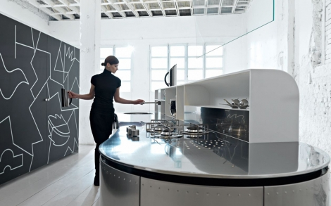 Designer Küche La Cucina Alessi in Edelstahl von Valcucine Küchen ...